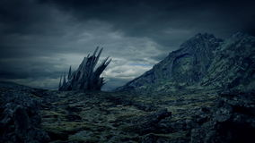 Vreemde structuur op rotsachtige planeet stock videobeelden