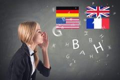 Vreemde taal. Concept - leren, die spreken, stock foto