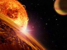 Vreemde zonstijgingen over een rotsachtige maan Stock Fotografie
