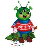 Vreemdeling in de Kerstboom van de sweaterholding Nieuw jaar stock afbeelding