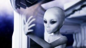 Vreemdeling in futuristische ruimte hand die uit met Aardeplaneet bereiken UFO futuristisch concept Cinematic4k animatie stock illustratie