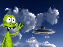 Vreemdeling met UFO 4 Royalty-vrije Stock Foto