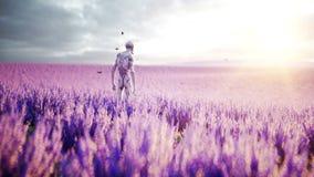 Vreemdeling met vlinders op lavendelgebied concept UFO Realistische 4K animatie stock videobeelden