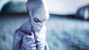 Vreemdeling op planeet, maan Aarde op backgound UFO het 3d teruggeven vector illustratie