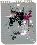 Vreemdeling, schedel, flora en document Stock Afbeelding