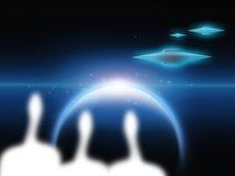 Vreemdelingen en vreemde planeetschepen Stock Foto