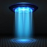 Vreemdelingen futuristisch ruimteschip, ufo met blauwe lichten Invasie vectorconcept vector illustratie