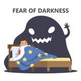 Vrees voor duisternisconcept Kind van monster wordt doen schrikken dat stock illustratie