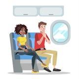 Vrees voor hoogte De mens in vliegtuig is bang stock illustratie