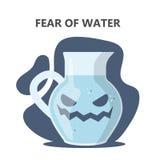 Vrees voor water of hydrophobia Sociale bezorgdheid stock illustratie