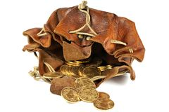 Vreneli gold coins. Swiss Vreneli gold coins in a leather purse isolated on background stock photo