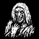 Vreselijke heks met knokige hand Vector illustratie vector illustratie