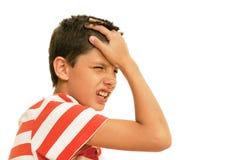 Vreselijke hoofdpijn Stock Afbeeldingen