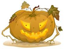 Vreselijke pompoenlantaarn voor Halloween De toebehoren van vakantiehalloween Stock Foto