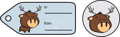 Vresig liten knubbig klistermärke för giftcard för hjorttecknad filmexprression Royaltyfri Bild