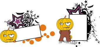 Vresigt för halloween för pumpaungetecknad film utrymme kopia royaltyfri illustrationer