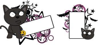 Vresigt för tecknad filmhalloween för svart katt utrymme kopia stock illustrationer