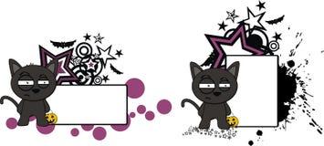 Vresigt litet för tecknad filmhalloween för svart katt utrymme kopia stock illustrationer