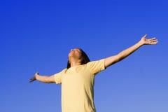 Vreugde, de jeugdlof en geloof Stock Fotografie