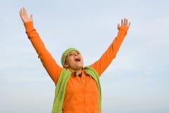 Vreugde, geloofs gelukkig kind   Stock Foto