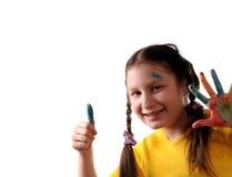 Vreugde. Het meisje van Preteen het spelen met kleuren Stock Fotografie