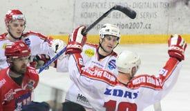 Vreugde van doel - de gelijke van het Ijshockey stock afbeeldingen