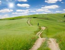 Vårfält och väg Fotografering för Bildbyråer