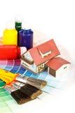 Várias ferramentas da pintura Fotos de Stock