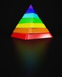 Vriden pyramid ut ur spektral- färger Arkivfoto