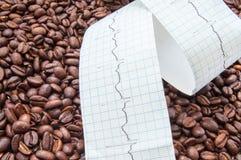 Vriden typ av elektrokardiogrammet med den utskrivavna ECG-linjen ligger på stekte kaffebönor Få effekt kaffe och koffein på hjär royaltyfri foto