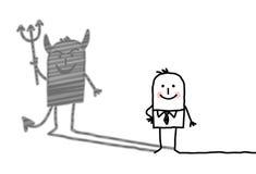 Vriendelijke mens met duivelsschaduw Stock Afbeeldingen