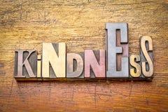 Vriendelijkheid - woordsamenvatting in houten type stock afbeeldingen