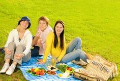 Vrienden bij picknick Stock Foto's
