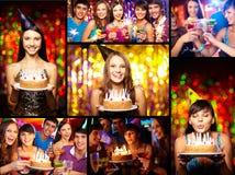 Vrienden bij verjaardagspartij royalty-vrije stock foto's