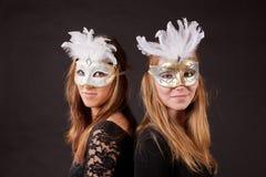 Vrienden carnaval masker royalty-vrije stock afbeeldingen