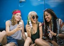 Vrienden die Alcoholbieren samen op de Reis van de Wegreis drinken Stock Afbeeldingen