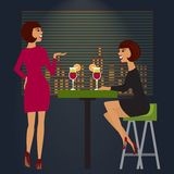 Vrienden die in bar of nachtclub vieren Vector Royalty-vrije Stock Foto