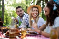 Vrienden die barbecue maken en lunch in de aard hebben royalty-vrije stock afbeelding