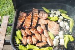 Vrienden die barbecue maken en lunch hebben Royalty-vrije Stock Fotografie