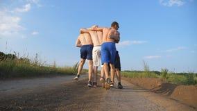 Vrienden die bij de landweg lopen en pret hebben Groep gelukkige jongensdwaas rond in openlucht Achter mening stock videobeelden