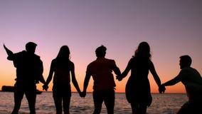 Vrienden die bij het strand springen stock footage