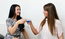 Vrienden die cocktail drinken Stock Afbeeldingen