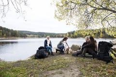 Vrienden die de Mens bekijken die Vuur bij Oever van het meer het Kamperen voorbereiden stock foto