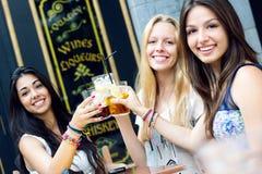 Vrienden die een drank op een terras nemen Stock Foto's