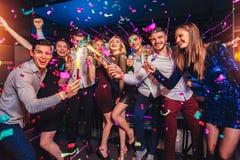 Vrienden die in een nachtclub en roosterende dranken partying stock afbeelding