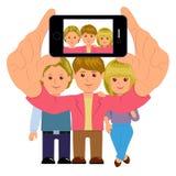 Vrienden die een zelfportret met smartphone nemen Selfie De modieuze jongeren met de telefoon, neemt een beeld Stock Foto