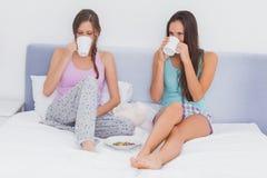 Vrienden die en koffie babbelen drinken Stock Fotografie