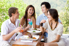 Vrienden die Lunch hebben royalty-vrije stock foto