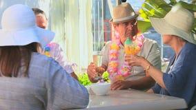 Vrienden die met cocktails vieren stock videobeelden