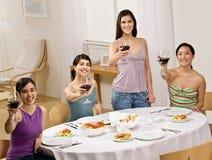 Vrienden die met rode wijn roosteren Stock Fotografie